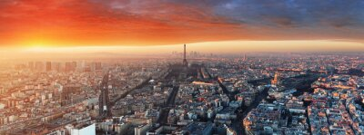Wall mural Panorama of Paris at sunset, cityscape