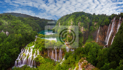 panorama of Plitvice waterfalls