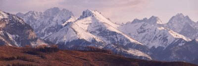 Wall mural Panorama of snowy Tatra mountains in spring, south Poland