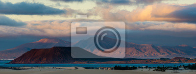 panorama of the islands of Lanzarote and Lobos