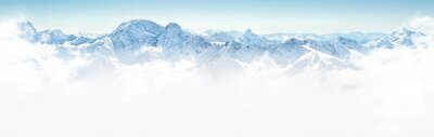 Wall mural Panorama of winter mountains in Caucasus region,Elbrus mountain, Russia