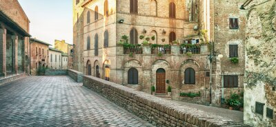 Wall mural Panoramic street view in Certaldo, Italy.