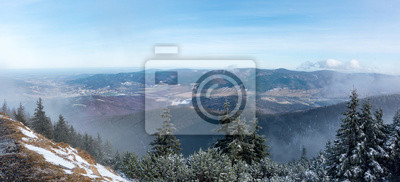 Wall mural Panoramic view from the mountain ridge to the valley