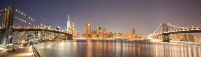 Wall mural Panoramic View Manhattan Bridge, Brooklyn Bridge and Manhattan Skyline at night