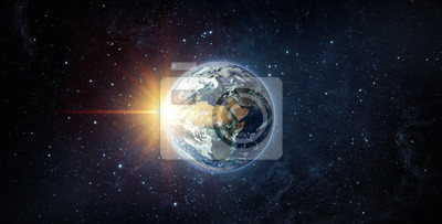 Panoramic view of the Earth, sun, star and galaxy. Sunrise over planet Earth, view from space. Elements of this image furnished by NASA.