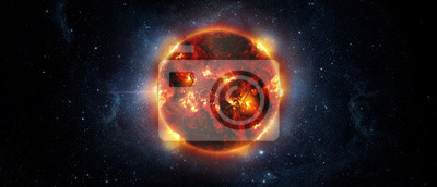 Panoramic view of the Sun, star and galaxy, view from space. Elements of this image furnished by NASA