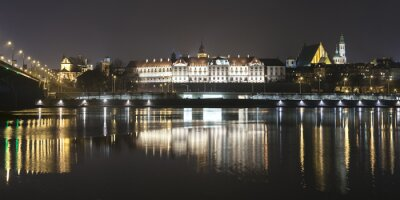 Wall mural Panoramic view of Warsaw waterfront by night.