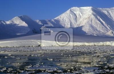 Panoramic view on antarctic snow mountains