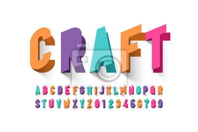 Wall mural Paper craft style font design, alphabet letters and numbers