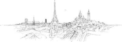Wall mural PARIS city panoramic sketch