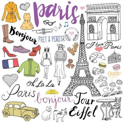Wall mural Paris doodles elements. Hand drawn set with eiffel tower bred cafe, taxi triumf arch, fashion elements, cat and french bulldog. Drawing doodle collection and lettering, isolated on white