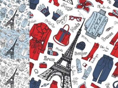 Wall mural Paris Fashion.Clothing seamless pattern set.Tricolor doodle