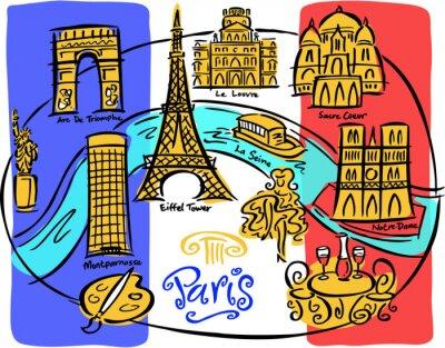 Wall mural Paris Flag Map