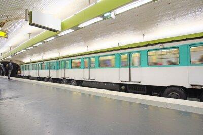 Wall mural Paris, France, February 12, 2016: metro train in Paris, France. Metro is very popular transport in Paris