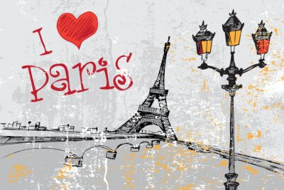 Wall mural Paris grunge background with Eiffel tower