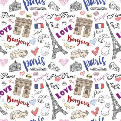 Wall mural Paris seamless pattern with Hand drawn sketch elements - eiffel tower triumf arch, fashion items. Drawing doodle vector illustration, isolated on white