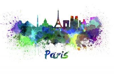 Wall mural Paris skyline in watercolor