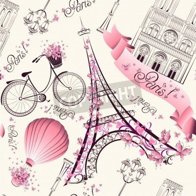 Wall mural Paris symbols seamless pattern. Romantic travel in Paris. Vector