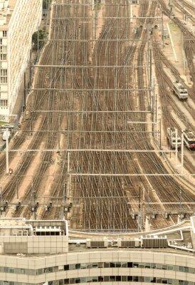 Wall mural Paris train station, France. Aerial view