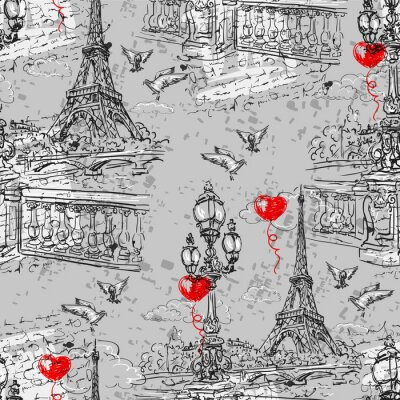 Wall mural Paris. Vintage seamless pattern  3