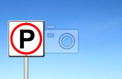 Parking sign over blue sky