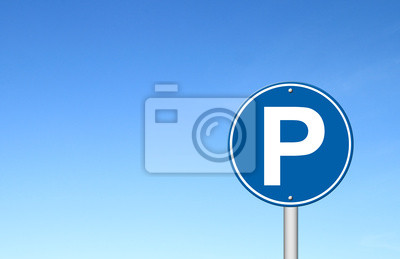 parking sign with a blue sky
