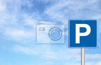 Parking traffic sign with blue sky