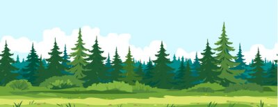 Wall mural Path along spruce forest with big green trees game background tillable horizontally, tourist route near the dense spruce forest and bushes in summer sunny day nature illustration background