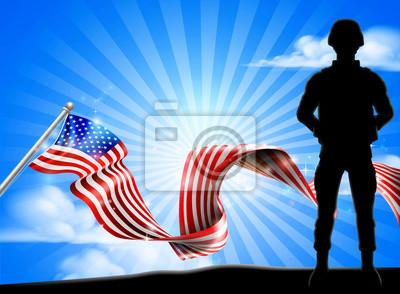 Patriotic Soldier American Flag Background
