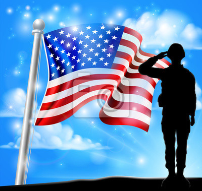 Patriotic Soldier Salute American Flag Background
