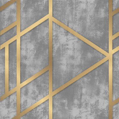 Wall mural pattern gray concrete with golden geometric lines
