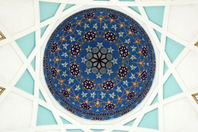 Wall mural Pattern inside main dome of Sarawak State Mosque. The largest mosque for muslim in Sarawak State, East Malaysia. Repetition pattern design base on Islamic geometry.