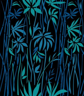 Wall mural Pattern of bamboo thickets of emerald leaves  and blue branches on a black background