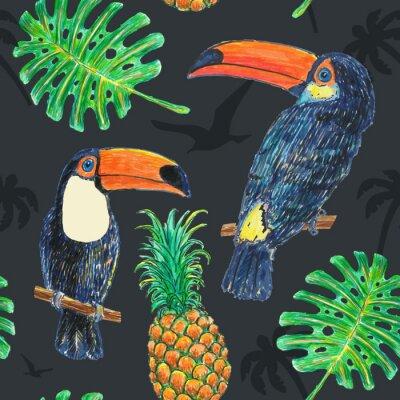 Wall mural Pattern Toucan Drawing Marker