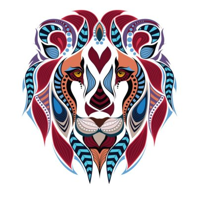 Wall mural Patterned colored head of the lion. African / indian / totem / tattoo design. It may be used for design of a t-shirt, bag, postcard and poster.