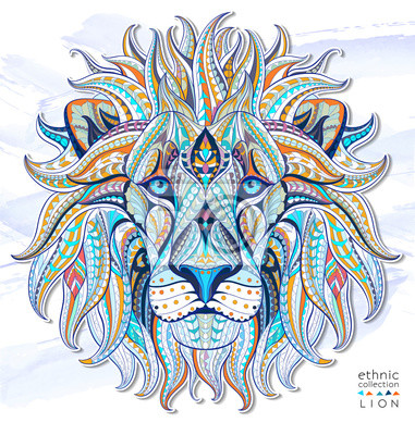 Wall mural Patterned head of the lion on the grunge background. African / indian / totem / tattoo design. It may be used for design of a t-shirt, bag, postcard, a poster and so on.