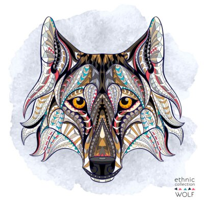 Wall mural Patterned head of the wolf on the grunge background. African / indian / totem / tattoo design. It may be used for design of a t-shirt, bag, postcard, a poster and so on.