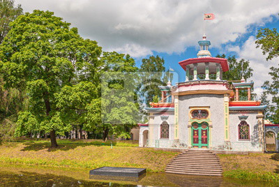 Pavilion in  style of  Chinese pagoda on  bank of  pond in  Alexander Park in Tsarskoye Selo