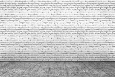 Wall mural pavimento in cemento e muro in mattoni bianchi