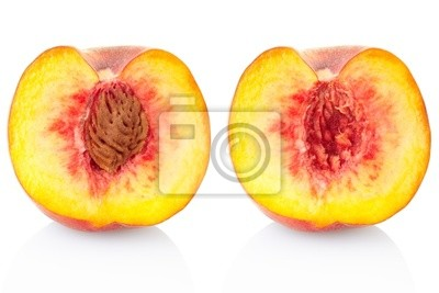 Wall mural Peach fruit section isolated on white, clipping path included