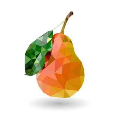 Wall mural Pear of triangles Pear with a red side and a leaf of the triangle on a white background with shadow