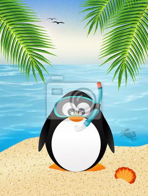 penguin with scuba mask
