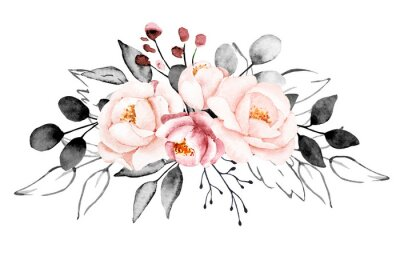Wall mural Peonies, watercolor pink and gray flowers. Floral summer vintage illustration isolated on white background. Hand drawing. Perfectly for wedding, birthday, party, other greetings design.