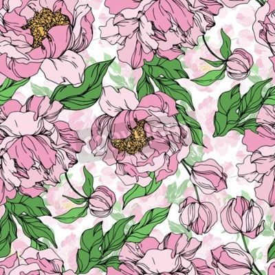 Wall mural Peony floral botanical flowers. Wild spring leaf wildflower isolated. Black and white engraved ink art. Seamless background pattern. Fabric wallpaper print texture.