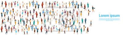 Wall mural People Group Different Occupation Set, Employees Mix Race Workers Banner Flat Vector Illustration