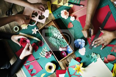 Wall mural People Making Paper Flowers Craft Art Work Handicraft