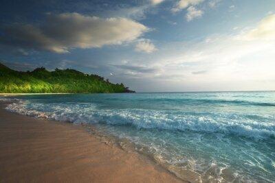 perfect sunset on Seychelles beach
