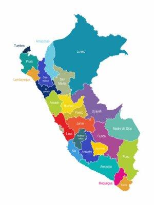 Wall mural Peru Map Regions Vector