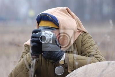 Photographer. Reenacting Civil War 1918 in Russia