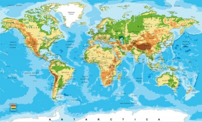 Wall mural Physical map of the world